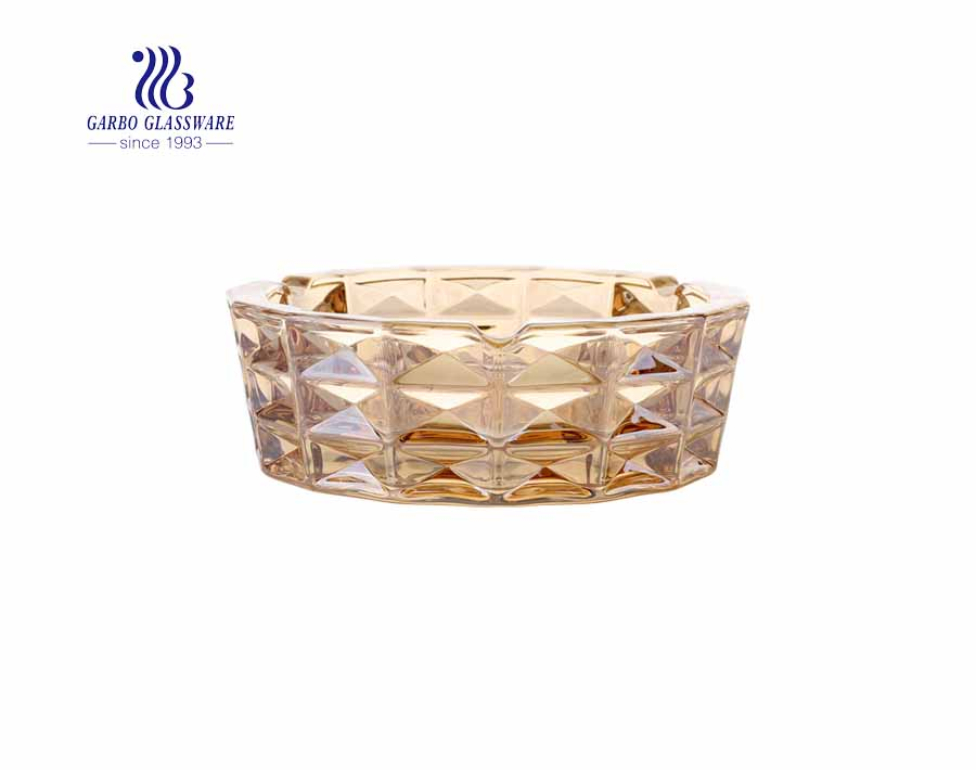 Delicate Golden Ashtray Amber Color Ashtray With Ion Plating Design