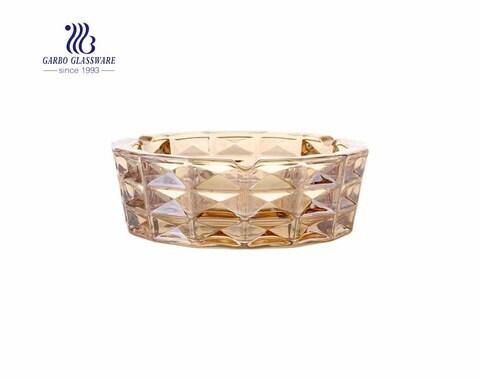 Aschenbecher aus Diamant-Designglas mit bernsteinfarbener Farbe Exquisiter Aschenbecher