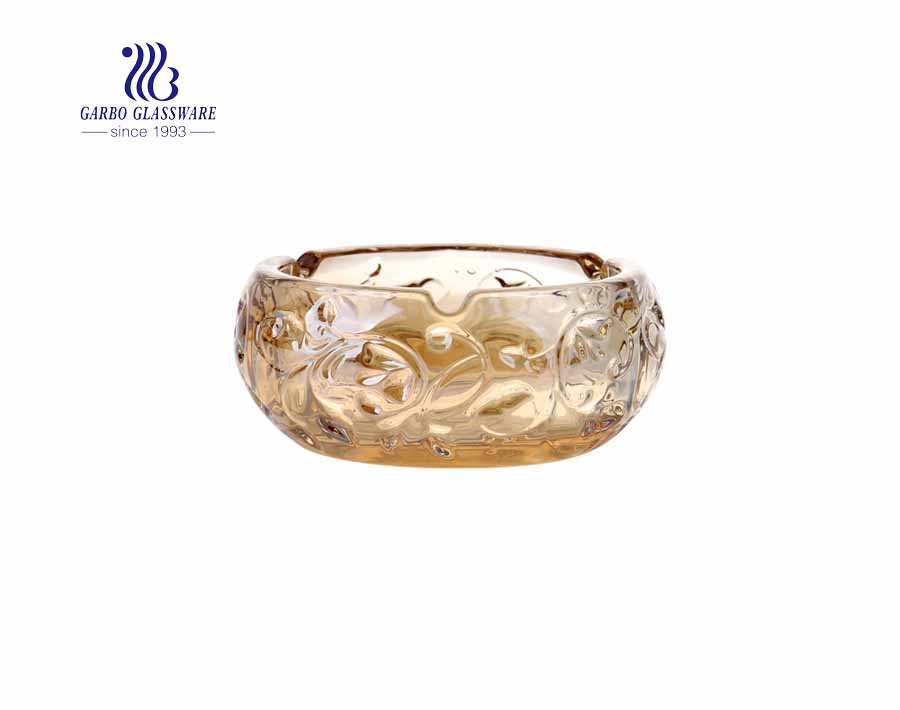 Diamond design glass ashtray with amber color Exquisite ashtray
