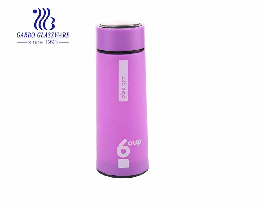 420ml colorful outdoor cheap water drinking glass bottle with plastic sleeve
