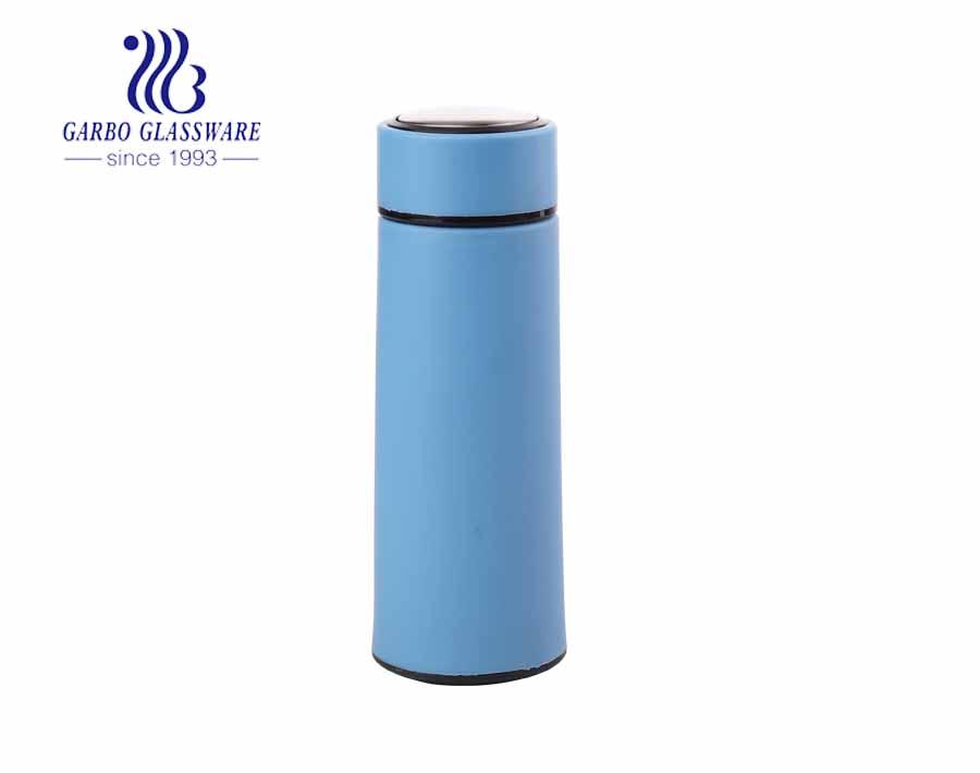 420ml bunte im Freien billige Wasser Trinkglasflasche mit Plastikhülle