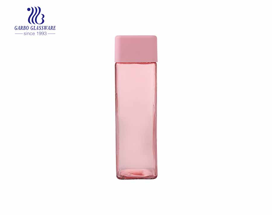 Popular home use pink 420ml water juice glass drinking bottle