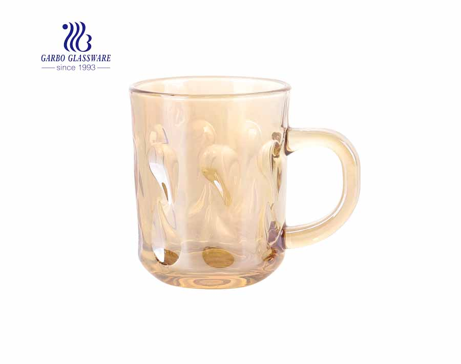 Tazas de café de vidrio de 8 oz con hierro galvanizado para restaurante
