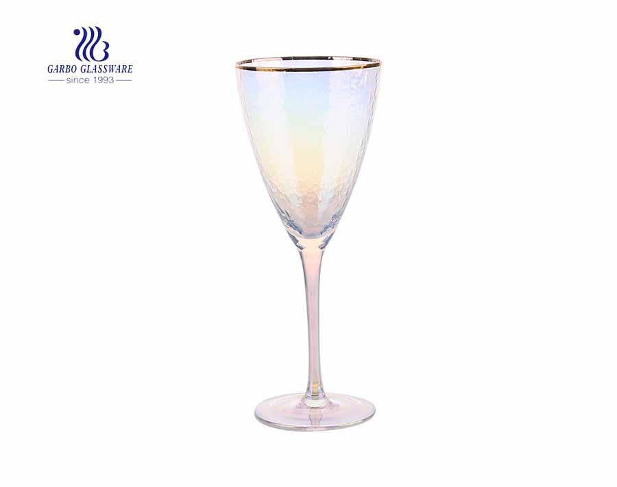 Atacado personalizado 20 onças barato copos de vinho tinto com aro de ouro na parede oblíqua