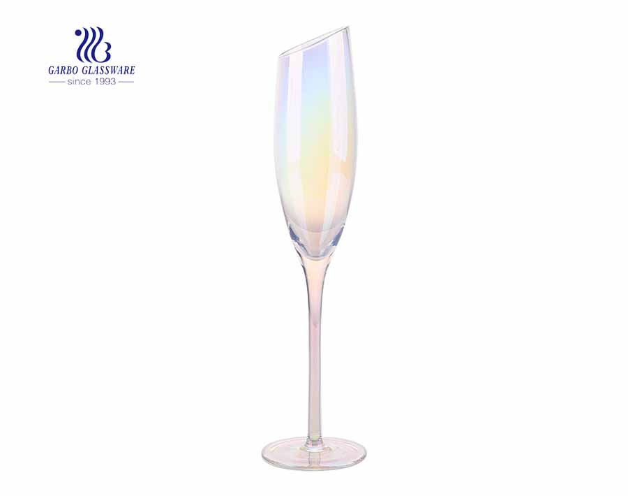 195 ml oblique top luxury iridescent sparkling champagne wine glass
