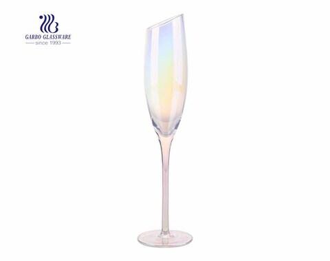 195 ml schräge Spitze Luxus schillerndes Champagner-Weinglas