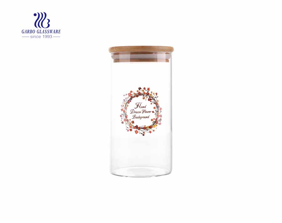 big size 880ml glass storage  jars decal storage jars