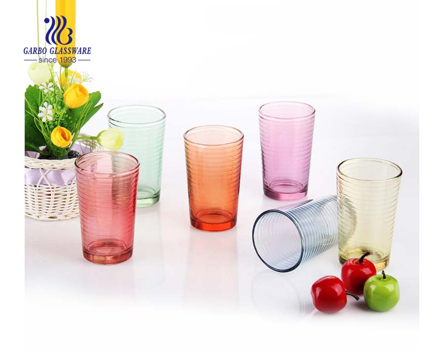 Promotional event food safe spraying colorful glass tumbler