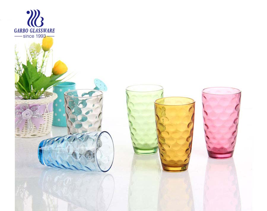 Iridescent colors glass tumbler with inside emboss design