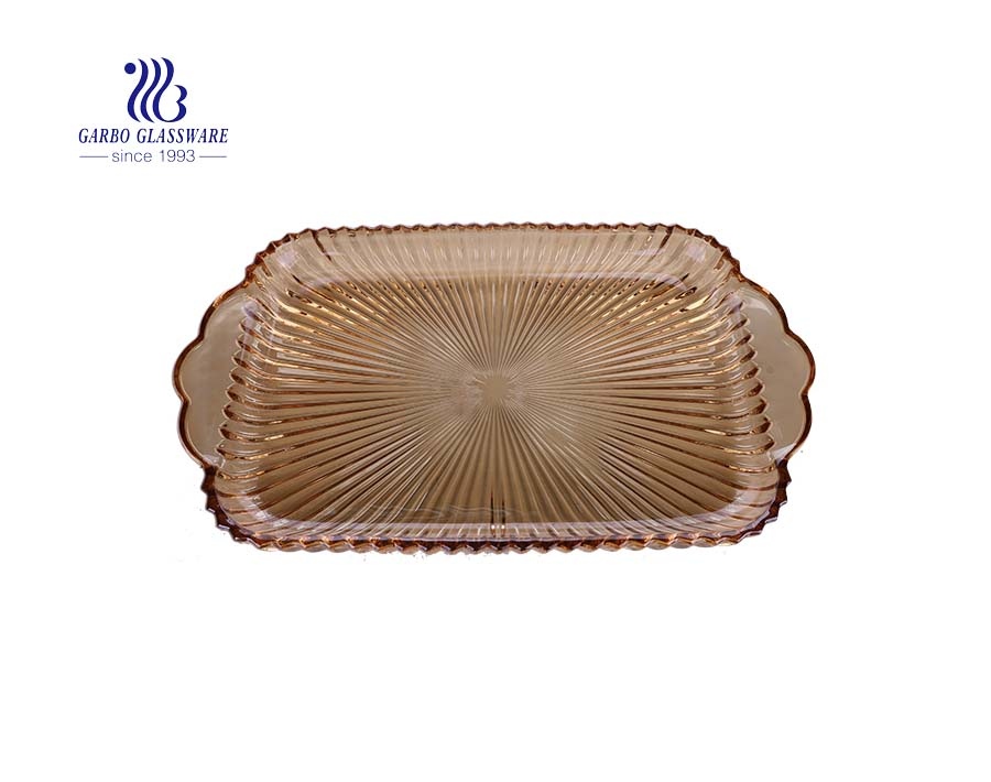 15.39'' Ion Plating Amber Color Square Glass Plate for Home Decoration