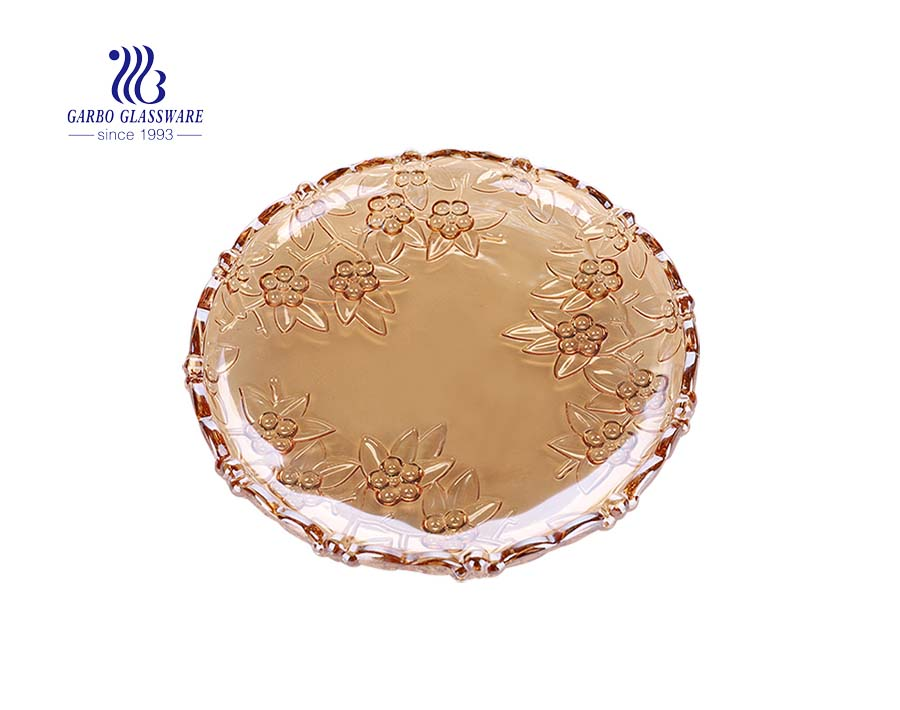 14.5'' Flower Shape Ion Plating Amber Glass Plate for Fruit Serving