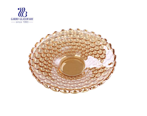 14.5 '' Blumenform Ionenbeschichtung Bernsteinglasplatte zum Servieren von Früchten