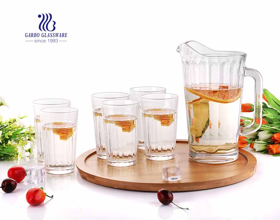 Clear Glass Juice Jug Set European Style Glass Water Pitcher Set