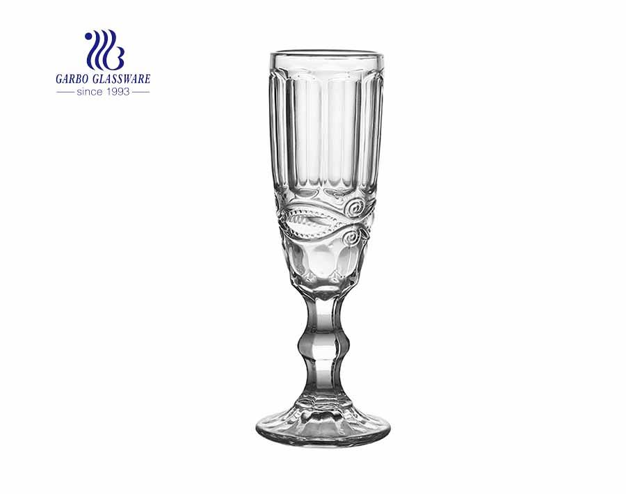 5.81oz Perigord Flute Vintage Absinthe Glass Stemware with Diamond design