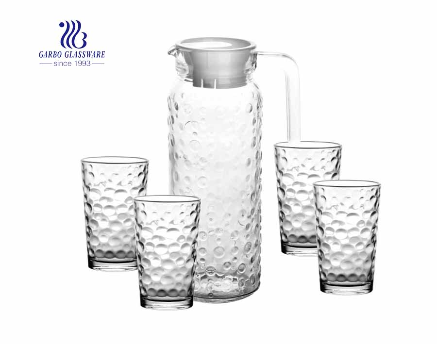 34 oz Glass Pitcher Set and Drinking Glasses Set Dishwasher Safe Thick Glass Serving Jug and Four 8 oz Tall Cups