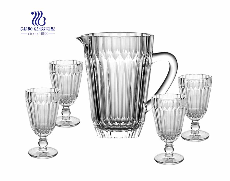 Embossed Glass Pitcher Set with 45 oz Glass Jug and 10 oz Stemware Goblet