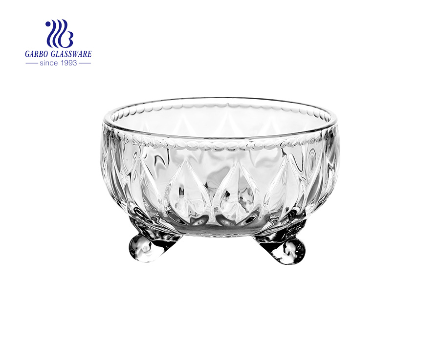 Hotsale Dragon Lines Glass Bowl with Three feet