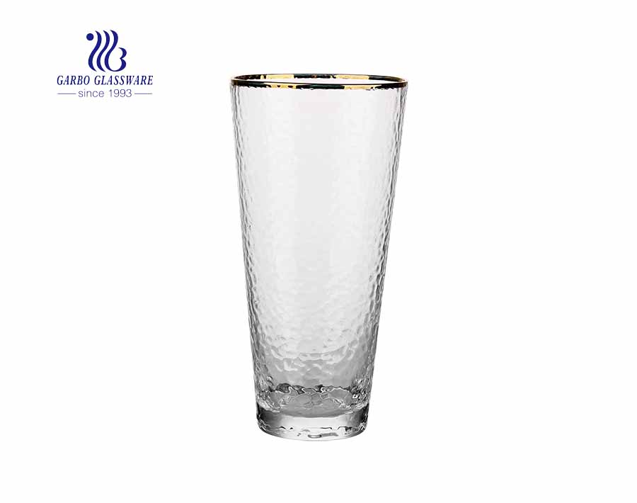 2020 hot sale hammer shape engraved glass tumbler with gold rim