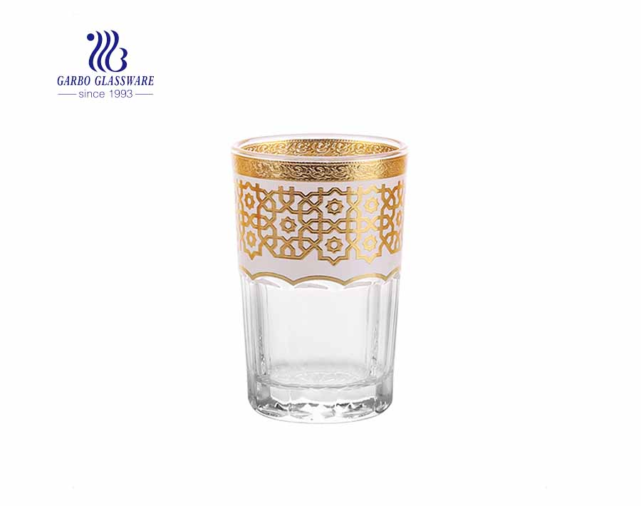 Arabic market style electroplated multi colors golden glass cup