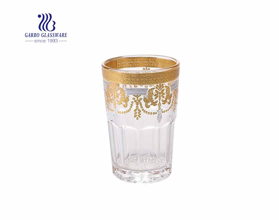 Muslim market Morocco style real golden plated glass cup