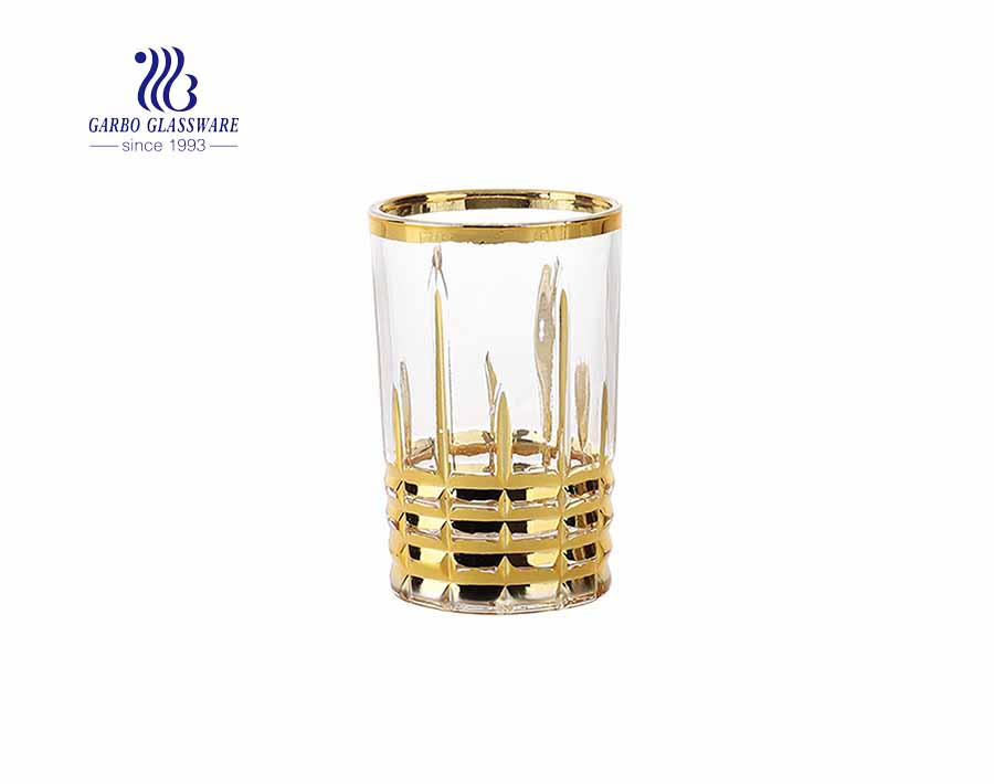 Classic engraved design whisky glass cup with real gold/silver plating