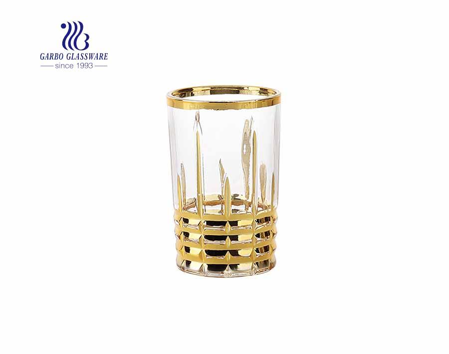 Vaso de whisky de diseño clásico grabado con baño de oro / plata real