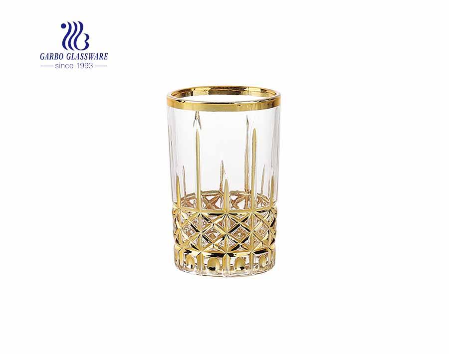 تصميم كلاسيكي محفور من كأس الزجاج ويسكي مع طلاء ذهبي / فضي حقيقي