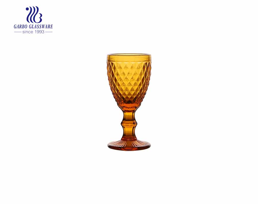 Mini 50ml amber color glass goblets with long stem