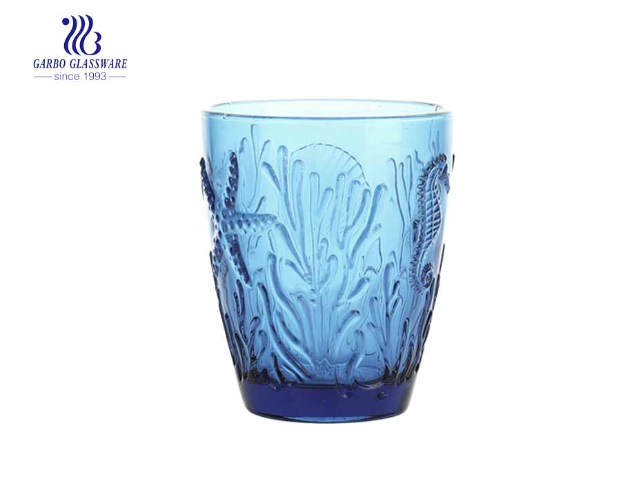 10oz leaf designs whisky glass tumblers with solid dark blue colors