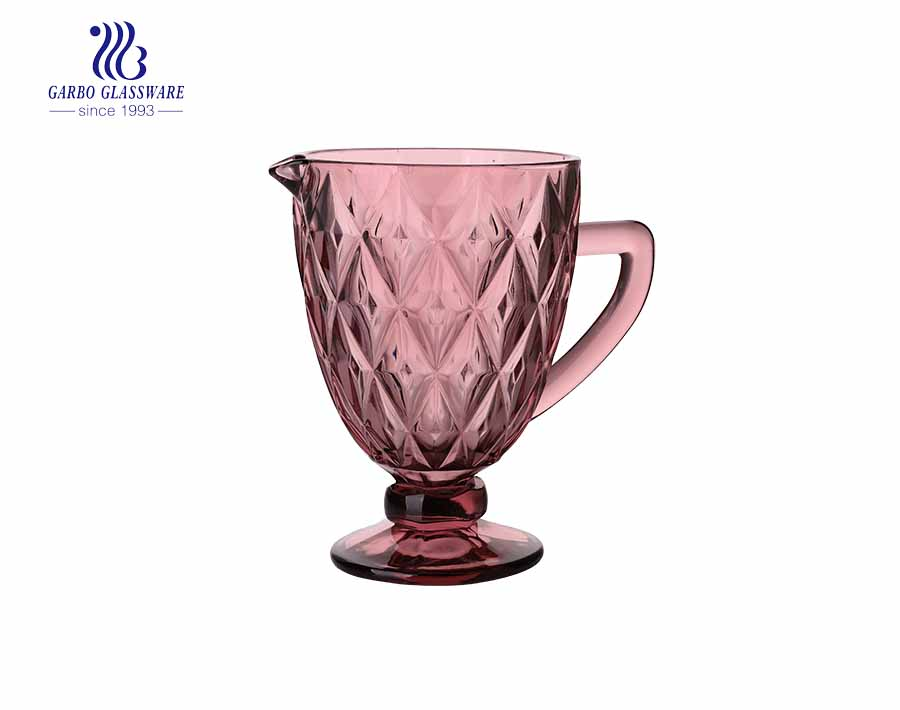 Garbo new double diamond design cold water glass pitchers with purple color