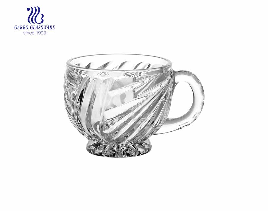 7Oz Cups Water Drinking Small  Glass Tea Cup With Handle Opal Glass Tea Mug