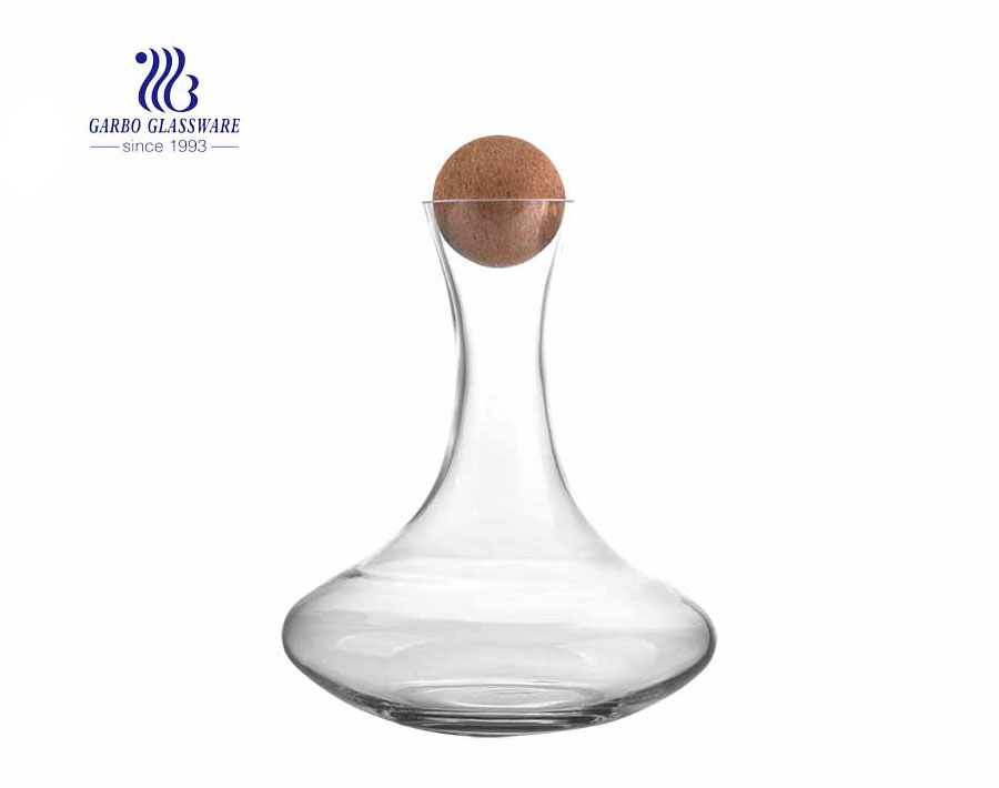 1.5 Liters Transparent Clear Red Wine Glass Decanter With Wooden Ball Stopper