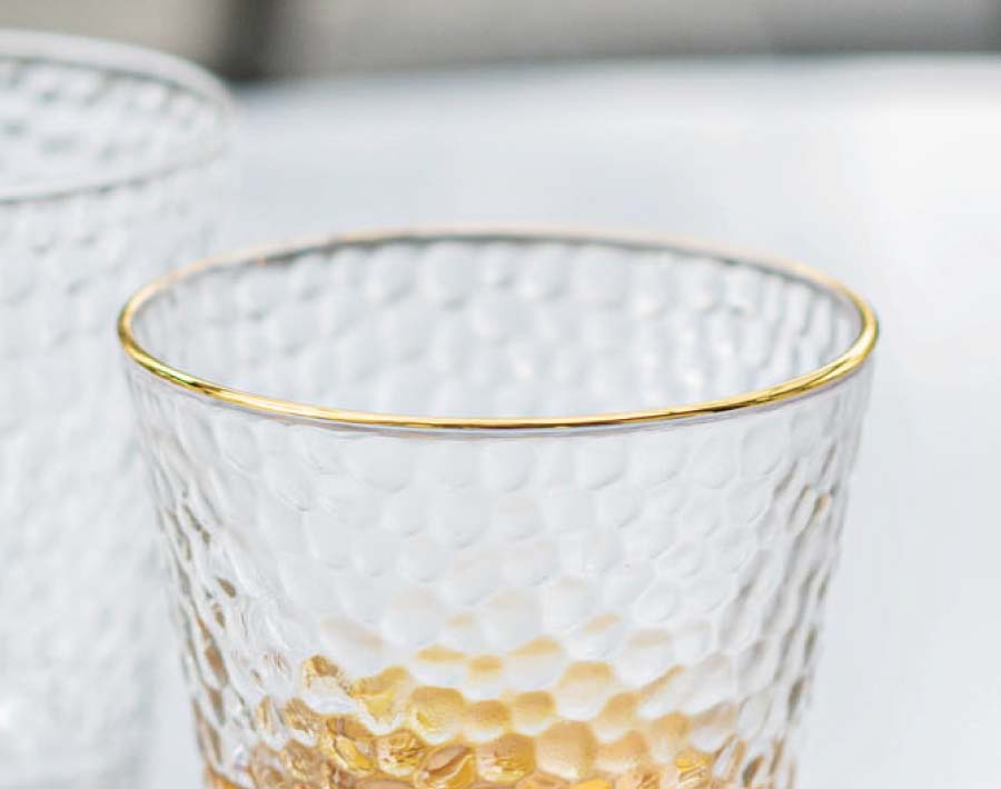 2020 worldwide hot sale multi sizes gold rim glass cups