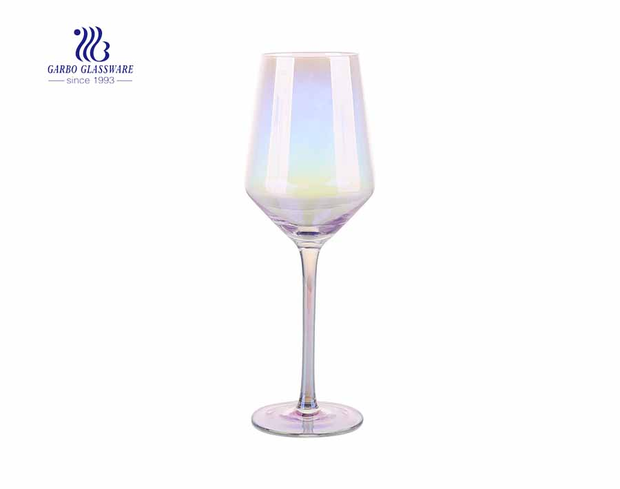 Variegated Rainbow goblet champagne glass Japanese style ion-plated crystal glass red wine glass 410ml