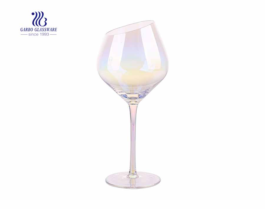 430ml 15.14oz Bordeaux iridescent rainbow wine glass with inclined mouth
