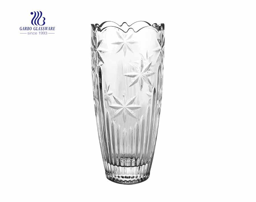 Vaso de vidro de flor clara sólida em relevo para decoração de escritório em casa