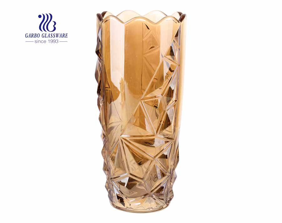 Embossed solid clear flower glass vase for home office decoration