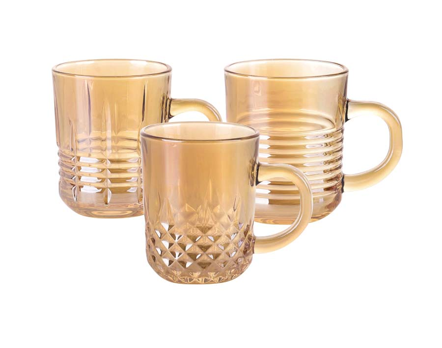 220ml Coffee Glass Mugs Ion Plating Tea Cup Set With Handle For Water Drinking