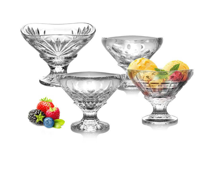 Premium Crystal Clear Glass Ice Cream Cups Footed Dessert Cups