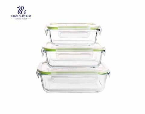 Rechteck Borosilikatglas 3 Stück Pyrex Lunchbox mit Deckel
