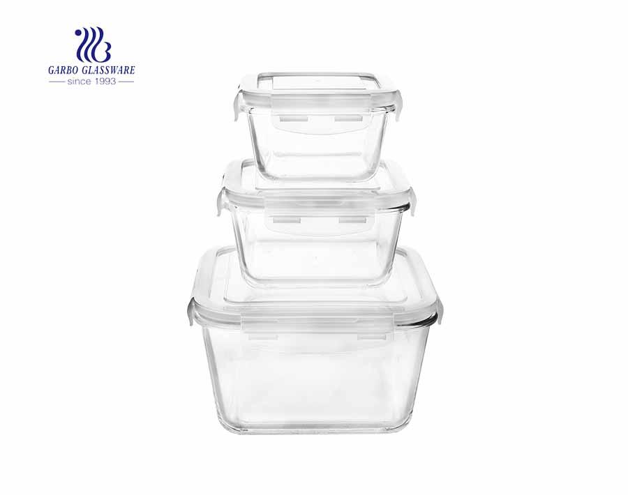 Rectangle borosilicate glass 3pcs pyrex lunch box set with lid