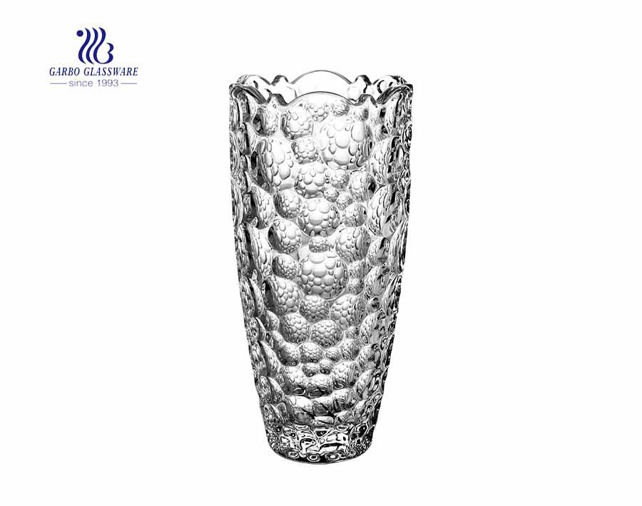 High quality decorative cylinder engraved crystal flower glass vase