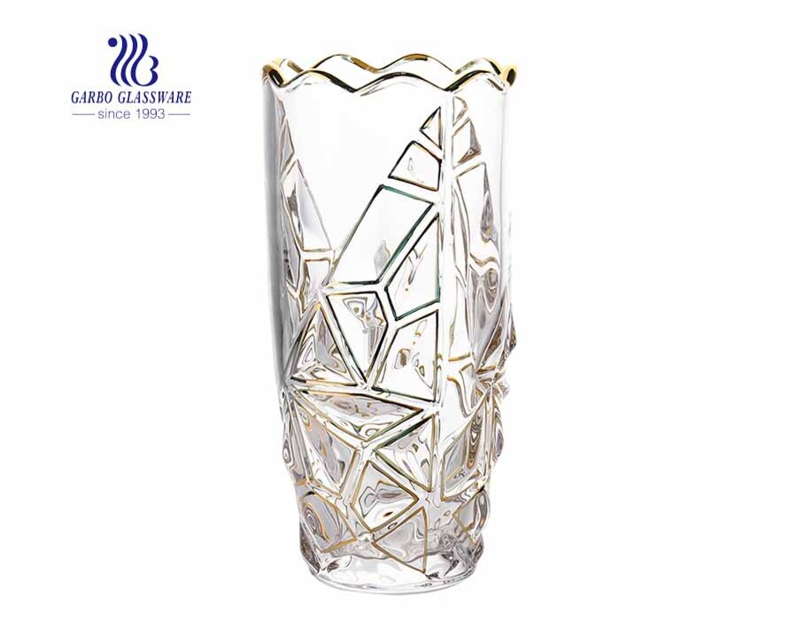 High quality decorative cylinder engraved crystal flower glass vase