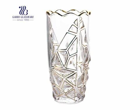 Florero de cristal de cristal grabado flor decorativa de alta calidad