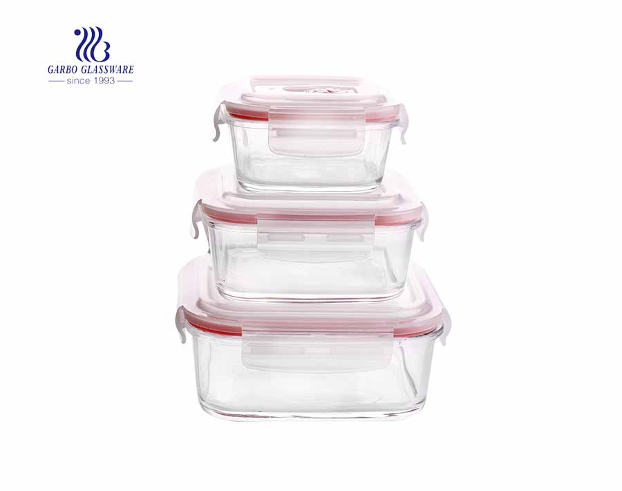 3pcs Pyrex leakproof square baking glass lunch box set for camping