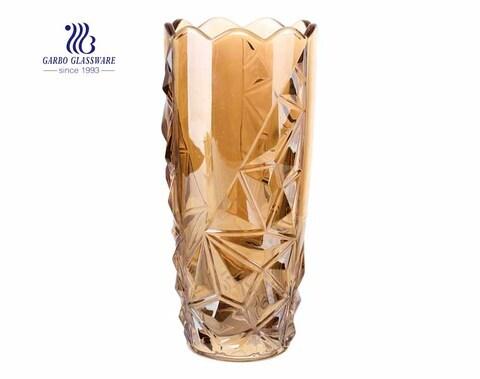 Jarrón de cristal cilíndrico curvo de centro antiguo hecho a mano con precio mayorista