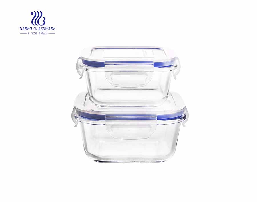 3pcs Pyrex square glass food container set with airtight lid