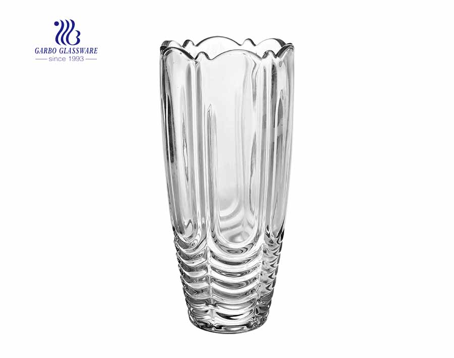 Cheap wholesale high white flower crystal glass vase for gift item