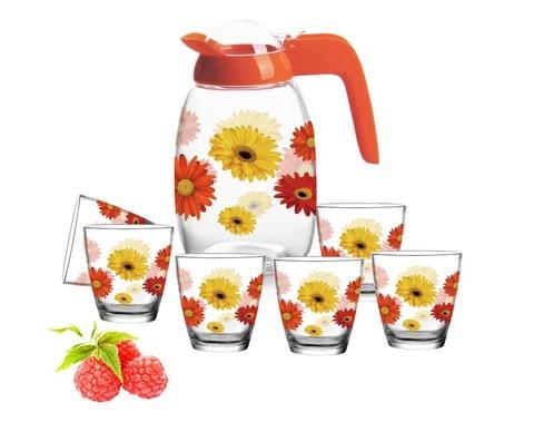 El precio barato modificó la jarra de cristal modificada para requisitos particulares de los diseños de la impresión fijada con 6 tazas