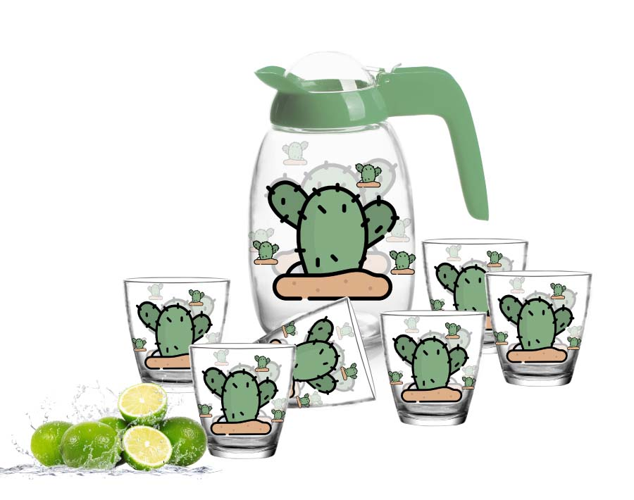 Beautiful 7pcs Glass Pitcher Set With Customized Designs Printing Water Drinking Set